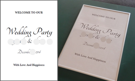 結婚式オリジナルウェディングボードの印刷。